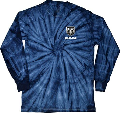 - Dodge Ram Logo (Pocket Print) Long Sleeve Tie Dye T-Shirt, Spider Navy, Medium