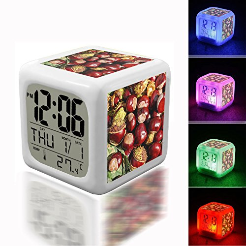 Wake Up Alarm Thermometer Night Glowing Cube 7 Colors Clock LED for Bedroom&Table,School Desk Customize 064.Conkers, Horse Chestnuts Wallpaper