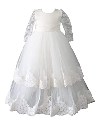 ba7a564b2 Aorme Ivory Baby-Girls Christening Dresses with Bonnet Christening Gowns  Long Tulle Lace Edge 3MIvory