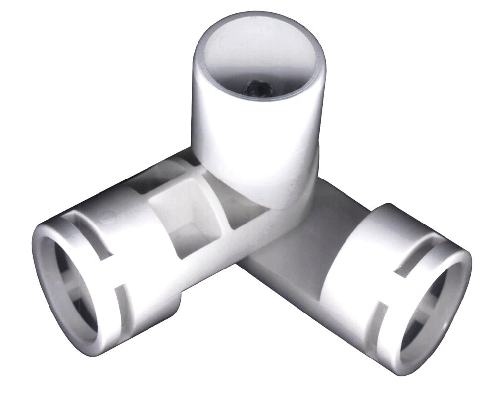 PVC- Adjustable joint fitting 1'' 3-Way (Furniture Grade White)