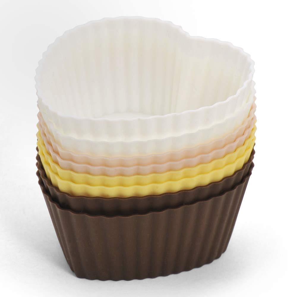 Bialetti ZDCSIPT8CU D/&C 8 Pezzi Stampini da Muffin in Silicone a Forma di Cuore