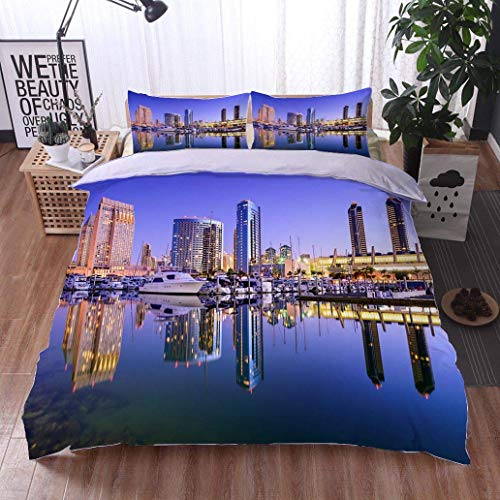 VROSELV-HOME Bedding Sets Duvet Cover Set,San Diego Marina,Soft,Breathable,Hypoallergenic,Bedspreads Beach Theme Quilt Cover Children Comforter Cover