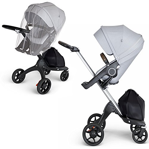 (Stokke Xplory Silver Chassis, Seat - Grey Melange/Brown Leatherette Handle & Mosquito Net)
