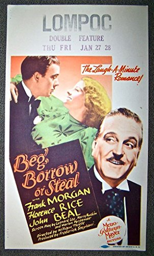 BEG, BORROW OR STEAL '37 MIDGET WINDOW CARD ~ WIZARD OF OZ FRANK MORGAN