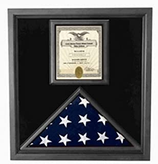 "product image for Flag and Certificate Case Black Frame, American Made 3"" x 5""."