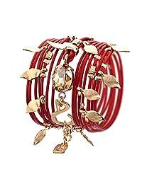 24k Gold and Swarovski Crystal Plated pendent elements Red Leather Bracelet / Necklace
