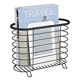 mDesign Newspaper and Magazine Rack for Bathroom, Office, Entryway - Matte Black