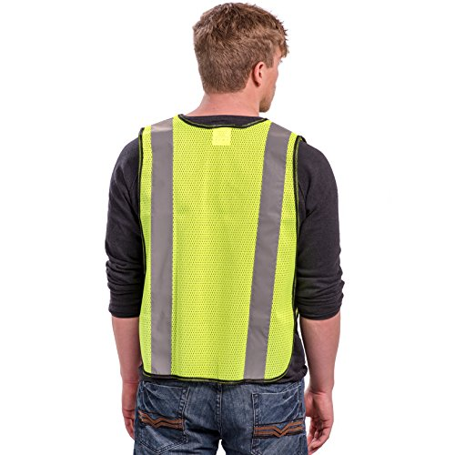 Safety Vest with High Visibility - 2 Inch Reflective Strips, Bright Neon Yellow, Breathable Polyester Mesh Fabric, ANSI ISEA Class Unrated, Hi Viz All Day and Night, One Size Fits Most (10 Pack) by Dasher Products (Image #7)