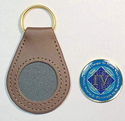 (Set Of 2 Items) 4 Year NA Gold Color Tri-Plated Recovery Clean Time Coin, Medallion + Coin Holder