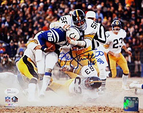 (Jack Lambert HOF Signed Steelers 8x10 Tackle vs Colts PF Photo- JSA W Auth center)