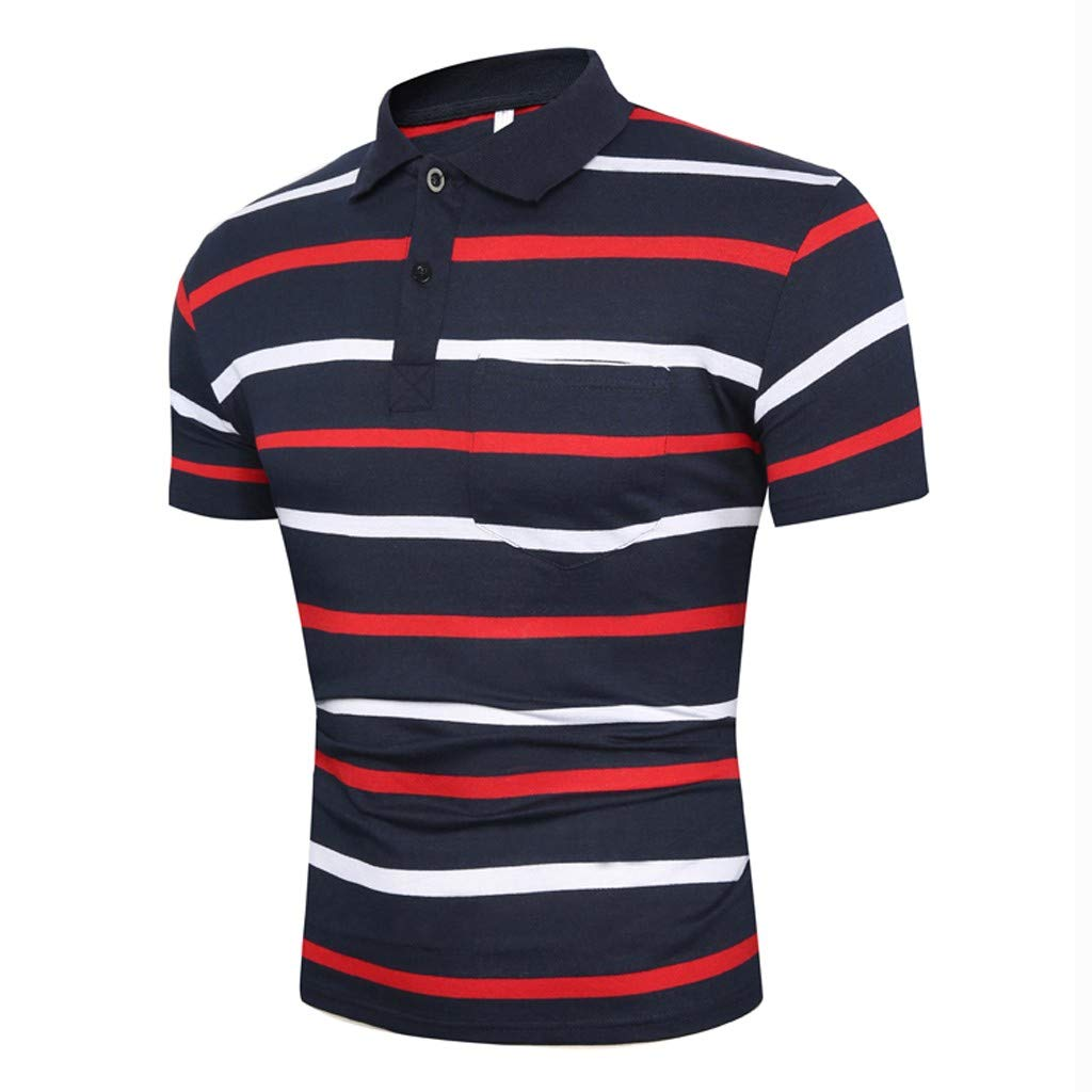 メンズ スリムフィット ターンダウン襟シャツ 半袖 ポケットトップ ブラウス トリネット メンズ 夏用Tシャツ 半袖 赤 - B Medium