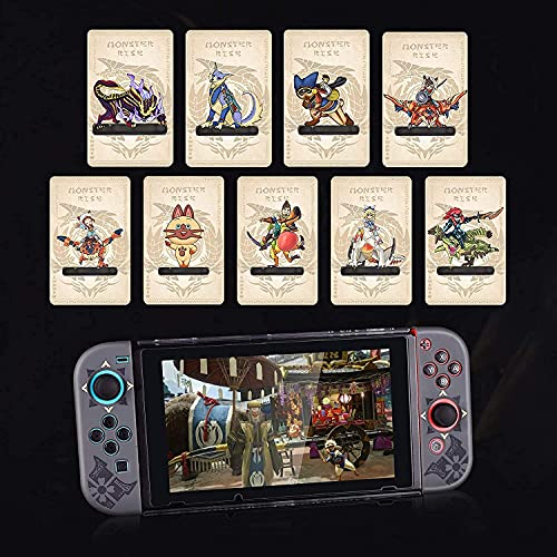 9 Pcs Monster Hunter Rise NFC Cards, Palamute, Palico, Magnamalo, Mini Size Game Cards for Switch/Switch Lite/New 3DS