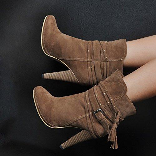 VOCOSI Women's Ankle Boots,Cone High Heels Suede Straps Decoration Spring Winter Bootie Brown