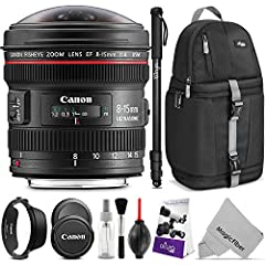 DIGITAL GOJA IS A CANON AUTHORIZED DEALER. 1 YEAR LIMITED WARRANTY. Canon EF 8-15mm f/4.0L USM Lens  - The new Canon EF 8-15mm f/4L Fisheye USM is a world-class choice. It delivers 180° diagonal angle of view images for all EOS SLR cameras wi...