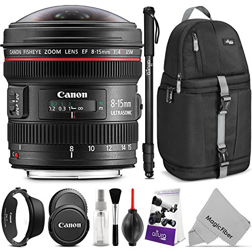 (Canon EF 8-15mm f/4L Fisheye USM Ultra-Wide Zoom Lens w/Advanced Photo and Travel Bundle - Includes: Altura Photo Sling Backpack, Monopod, Camera Cleaning Set)