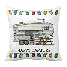 Lightinglife Rustic Decorative Pillows Cute Rv Vintage Fifth Wheel Camper Travel Trailer Pillow