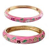 UJOY Floral Cloisonne Bracelet Sets Flower Bangles Jewelry 2 pcs Spring Hinged Zinc Alloy Gift Box 55A46 rose pink