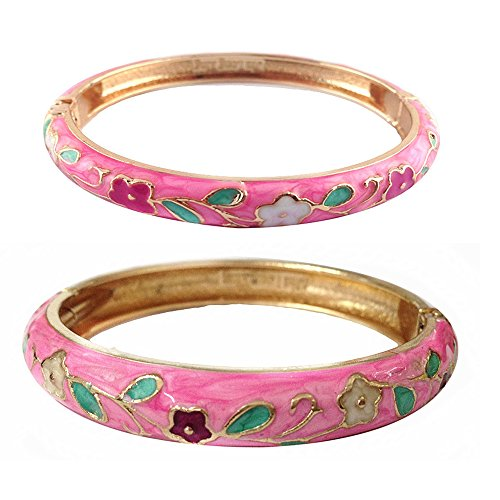 UJOY Bangles Bracelets Gorgeous Enamel Flower Indian Gold Plated Cloisonne Jewelry Box Set for Womens Gift 55B38 Pink