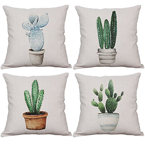 Set of 4 Cactus Throw Pillow Covers Decorative Cotton Linen