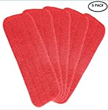 Haoun 5 Pcs Laminate Hardwood Floor Mop Microfiber Cleaning Pad Replacement Washable(Red)