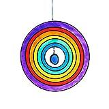 "Window decor, wind chime, Suncatcher ""CIRCLE"" multi-colored, 15 cm, modern style (ART GLASS powered by CRISTALICA)"