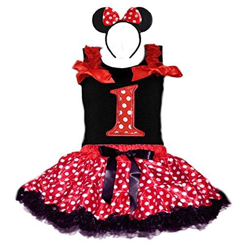 Birthday Girl's Polka Dot Tutu Sequin Age Number Tank-Top & Headband 3 Pcs Set (Age 1-RWBK) -