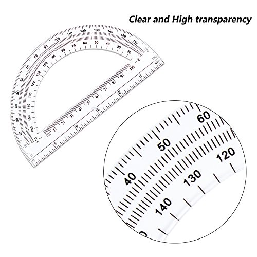 24 Pack Protractors Esee Plastic Protractor for School Teachers and Students, 6 Inch Math Clear Protractor by ESEE (Image #3)