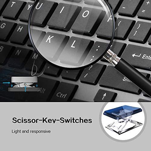 Juego de teclado y ratón inalámbricos, teclado inalámbrico compacto con teclado numérico y ratón ergonómico de tamaño completo de 2400 DPI para PC, ...