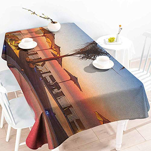 EwaskyOnline Anti-Fading Tablecloths,Landscape Summer Time Resort Place Sea at Evening Caribbean Warm Tranquil Calm Relaxation Photo,Dinner Picnic Table Cloth Home Decoration,W52x70L, Multi -