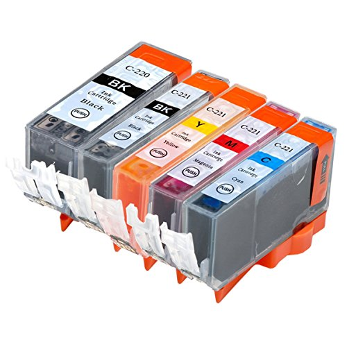 Lic-Store Compatible Ink Cartridges For Canon PGI-220 & CLI-221 5PK 1SET Compatible with PIXMA IP3600 IP4600 IP4700 MX860 MX870 MP560 MP620 MP620B MP640 MP980 MP990 PMFP1 PMFP3 SFP1 SFP2 Printer