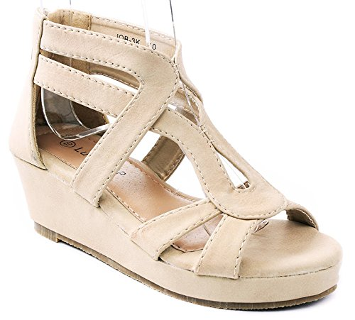 Shoes Kids Nubuck Beige (JJF Shoes JOB Kids Beige Strappy Roman Gladiator Nubuck PU Comfort Dress Platform Wedge Sandals-10)