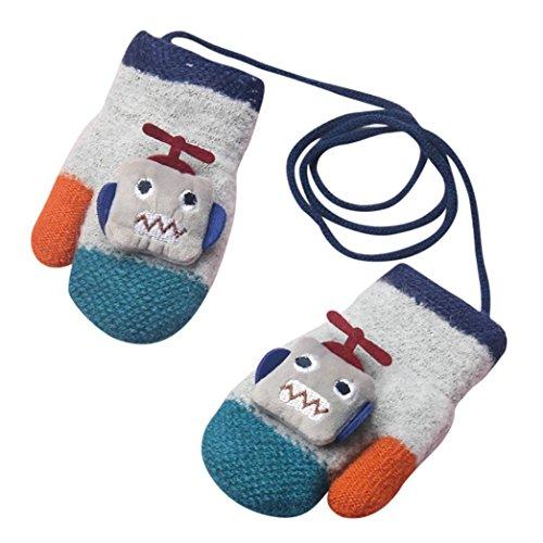 Staron Toddler Baby Gloves Mittens with String Cartoon Robot Winter Soft Warm Gloves (Gray)