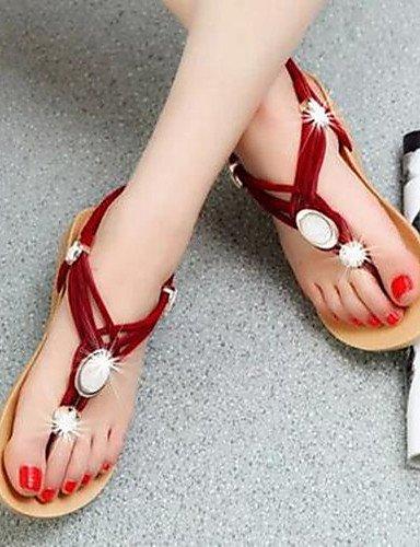 ShangYi Sandaletten für Damen Damenschuhe - Sandalen - Kleid - Kunstleder - Flacher Absatz - Komfort - Schwarz / Rot / Mandelfarben Red