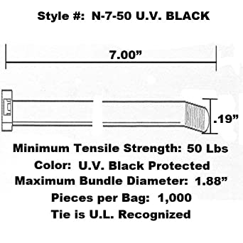 Pack of 1000 NL-8-18 Tach-It 8 x 18 Lb Tensile Strength Natural Colored Cable Tie