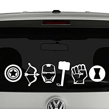 Amazoncom Avengers Icons  White Vinyl Car Truck Decal Sticker - Cool car decal stickers