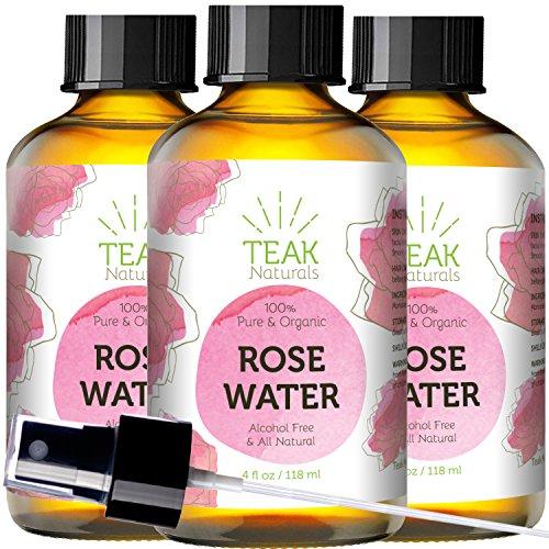ROSE WATER TONER by Teak Naturals - 100% Organic Natural Moroccan Rosewater (Chemical Free) - 4 oz by Teak Naturals (Image #1)