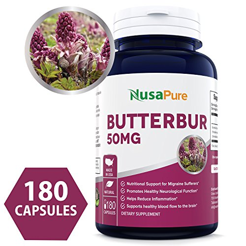 Best Butterbur Extract 50mg 180caps (NON-GMO & Gluten Free) - Headache & Migraine Relief, Reduces Inflammation, Relieves Cold, Spasms & Pains ★100% MONEY BACK GUARANTEE!★