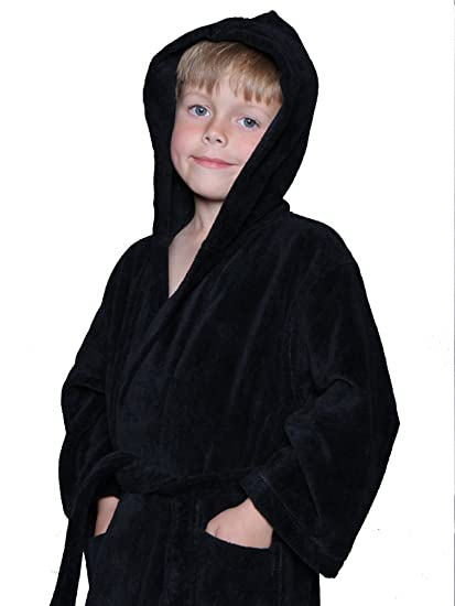 4afd3a1bde Image Unavailable. Image not available for. Color  Luxury Girls and Boys  Kids BLACK Hooded Terry velour Robe ...