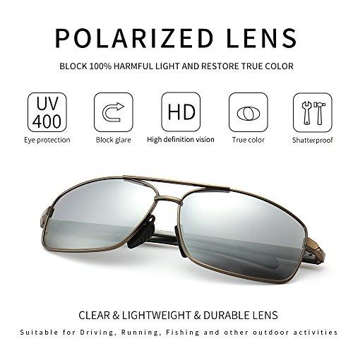 cbcd726c83bdc SUNGAIT Ultra Lightweight Rectangular Polarized Sunglasses 100% UV  protection (Gunmetal Frame Sliver Mirror Lens