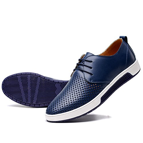 konhill Men's Casual Oxford Shoes - Breathable Dress Shoes Loafers Lace-up Flat Sneakers,Navy,45 - Mens Casual Oxford Shoes