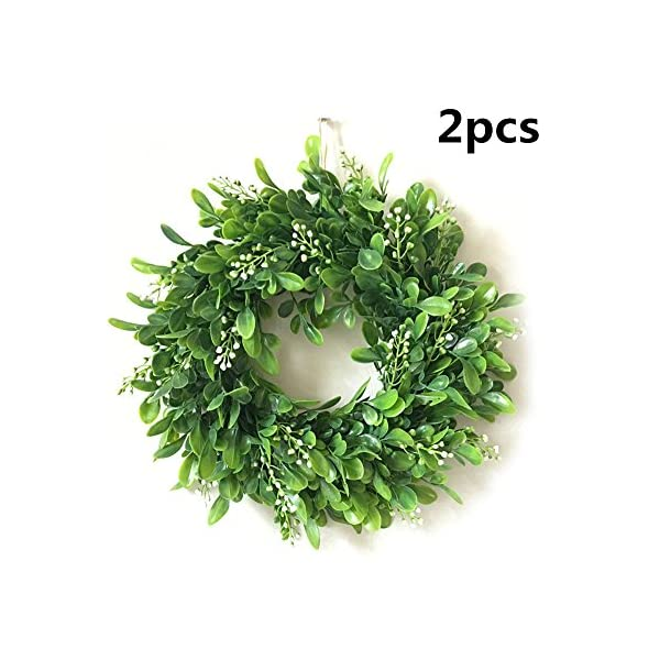 SZBYKJ Lifelike Artificial Wreath Flowers Door Hanging Wall Window Decoration Wedding Party Christmas Decor 11.8″ Diameter Outside Diameter 30CM #F (no Powder) 2pcs/Pack