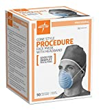 Medline Industries NON27381 Surgical Face Mask, Cone-Style, Latex Free, Blue (Pack of 300)