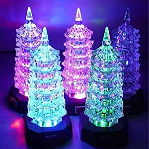 Ledtcx Ships in 24 hours Coway Colorful Acrylic Pagoda LED Nightlight