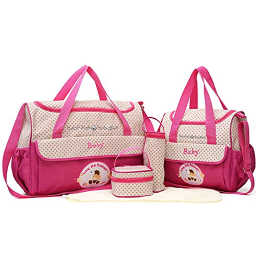 Rakkiss 5 PC Women Multifunction Mummy Bag Handbags Maternity Baby Carriage Bag Pink