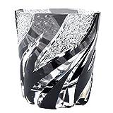 Crystal Double Old Fashioned Glass Edo Kiriko Cut Glass Homura Fire Flame - Black [Japanese Crafts Sakura]