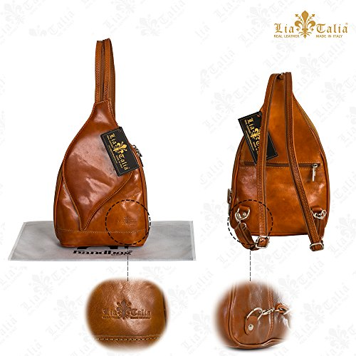 Real Brown Pink Small Hot Duffle Italian Backpack Leather LIATALIA KIM Rucksack Womens Bag Shoulder aEqUBqg