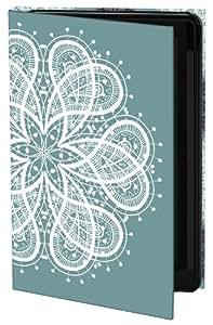 Keka SLP35-MS5-GS4T - Funda rígida para Galaxy S4, diseño con flor de puntilla de Mel Smith, color azul y blanco