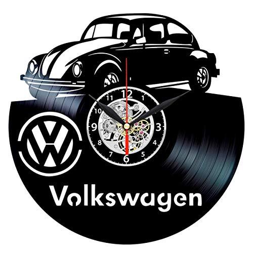 Black Clock Beetle - VW Vinyl Clock, Volkswagen Record Wall Art - VW Bug Decor - Beetle Gifts for Men