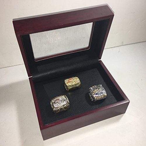 Set of 3 Denver Broncos Super Bowl 50 L, XXXIII, XXXII LI Replica Ring W/Box-Sizes vary Gold & Silver Color Collectible 1997 1998 2015 USA SHIPPER (Broncos Denver Collectibles)
