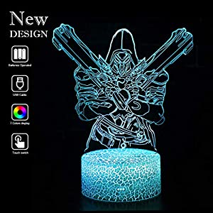 Overwatch 3D Night Lights Baby Optical Illusion Mood Lamps RGB Changeable Lighting Game Fun Gifts for Birthday Holiday Christmas Party Decoration Gift Ideas for Kids Boys Girls Teen(Reaper Crack base)